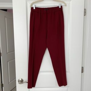 Theory burgundy pull on pants